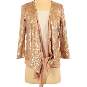 Imaginary voyage sequined gold cardigan